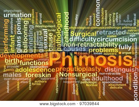 Background concept wordcloud illustration of phimosis glowing light