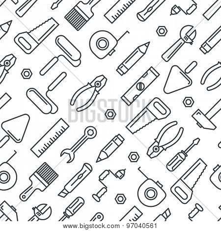 Different industrial equipment. Vector tools seamless pattern
