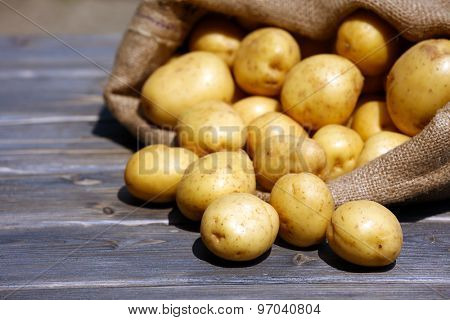 New potatoes in sackcloth bag on wooden table, closeup