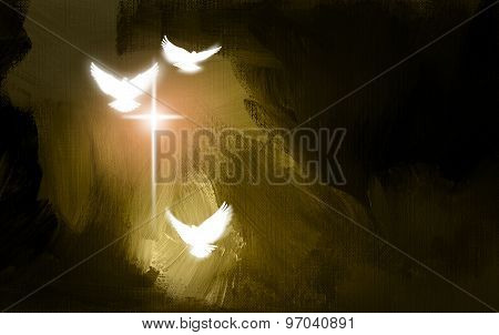 Christian glowing cross and doves