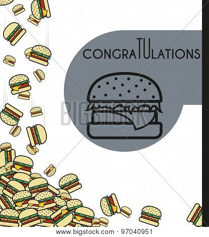 Background, falling burgers for design cards and other. Vector