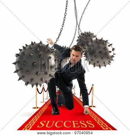 Businessman reach the success