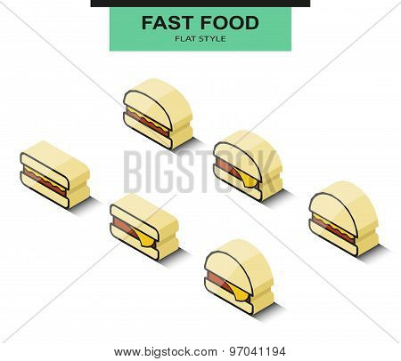 Set the burgers in isometric projection. Vector