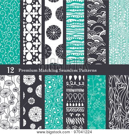 Vector Black Sea Foam Green 12 Set Seamless Patterns