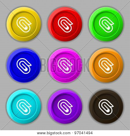 Paper Clip Icon Sign. Symbol On Nine Round Colourful Buttons. Vector