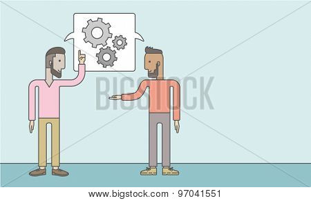 Two men talking a new business in logistics. Brainstorming, speech bubble gears. Teamwork concept. A Contemporary style with pastel palette, soft blue tinted background. Vector flat design