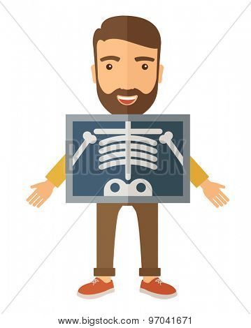 The view of man is holding a X-ray picture. A Contemporary style. Vector flat design illustration isolated white background. Vertical layout