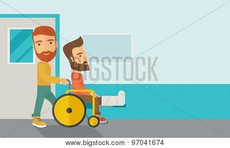 A caucasian man pushing the wheelchair with broken leg patient. Contemporary style with pastel palette, soft blue tinted background. Vector flat design illustrations. Horizontal layout with text space