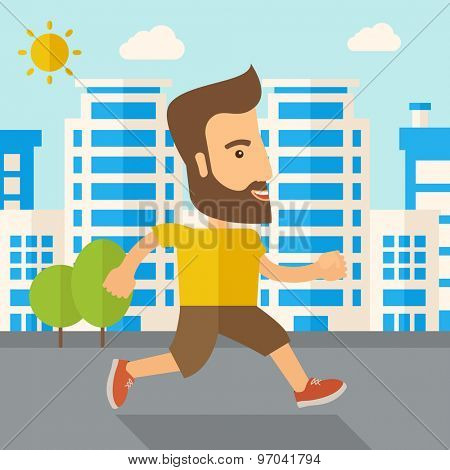 A caucasian do a jogging exercise under the heat of the sun. Healthy concept. Contemporary style with pastel palette, soft blue tinted background with desaturated cloud. Vector flat design