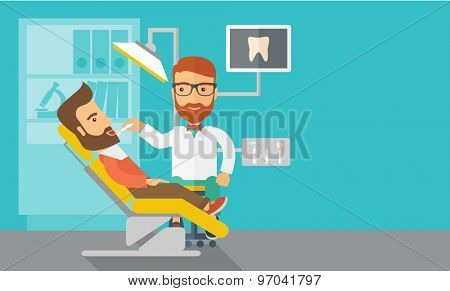 A caucasian dentist man examines a patient teeth in the clinic. Contemporary style with pastel palette, blue tinted background. Vector flat design illustrations. Horizontal layout with text space in