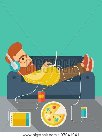 A Young caucasian man with headphone lie on the sofa listening music with pizza. Contemporary style with pastel palette, soft green tinted background. Vector flat design illustrations. vertical layout