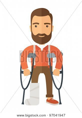 A Man with crutches and broken bone. A Contemporary style. Vector flat design illustration isolated white background. Vertical layout