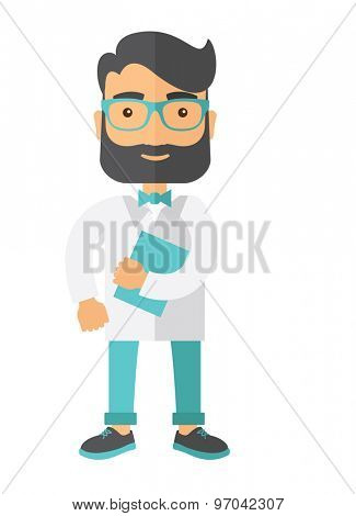 A Young attractive resident doctor in eyeglasses holding a blue book. A Contemporary style. Vector flat design illustration isolated white background. Vertical layout.