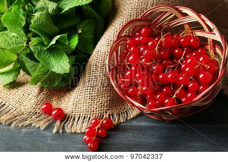 Ripe red currant in wicker basket on wooden background