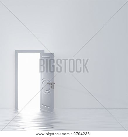 Doorway in flooded white room