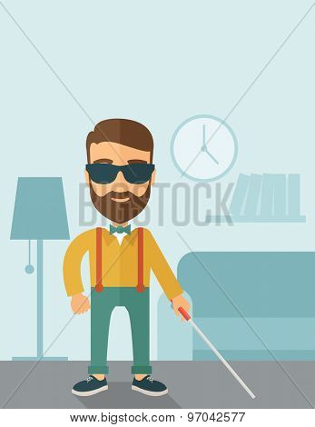 A blind caucasian with walking stick inside the house. Contemporary style with pastel palette, soft blue tinted background. Vector flat design illustrations. Vertical layout with text space on top