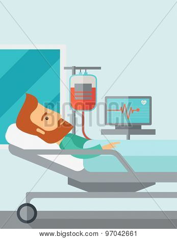 A caucasian patient in hospital bed in having a blood transfussion being monitored. Contemporary style with pastel palette, soft blue tinted background. Vector flat design illustrations. Vertical