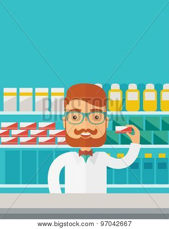 A Young  pharmacy chemist man standing in drugstore. Contemporary style with pastel palette, blue tinted background. Vector flat design illustrations. Vertical layout with text space on top part.