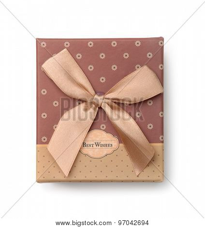 Top view of gift box isolated on white
