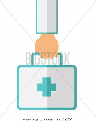A Hand Holding First Aid Box for emergency purpose. A Contemporary style. Vector flat design illustration isolated white background. Vertical layout.
