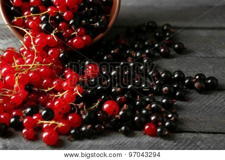 Ripe red and black currant on wooden background