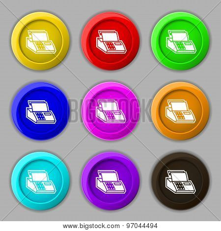 Cash Register Machine Icon Sign. Symbol On Nine Round Colourful Buttons. Vector