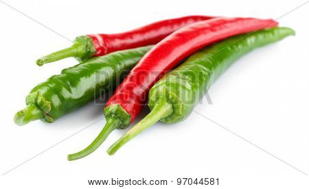 Hot peppers isolated on white