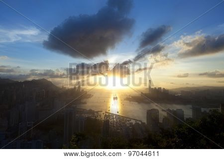 City at sunset
