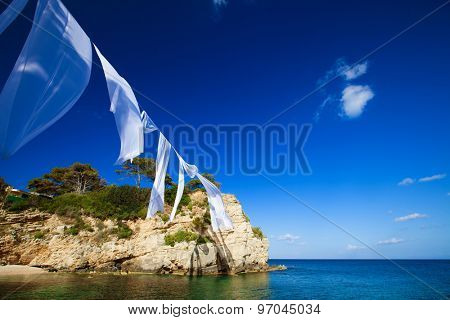 Travel concept - paradise island, sea, sky, summer.Agios Sostis in Zakynthos island,Greece.