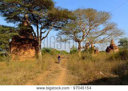 Tourist visit temples by electric motor cycle in Bagan