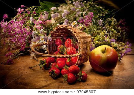 Basket With Apple, Strawberry And Flowers