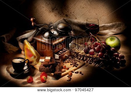 Still Life With Coffee Mill And Fruits