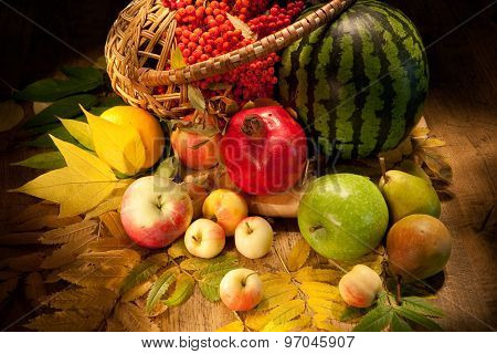 Watermelon, Apples And Wicker Basket