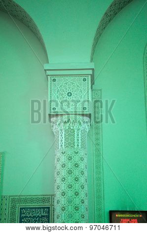 Column decoration detail at Sultan Haji Ahmad Shah Mosque a.k.a UIA Mosque in Gombak, Malaysia