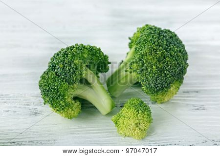Fresh broccoli on wooden background