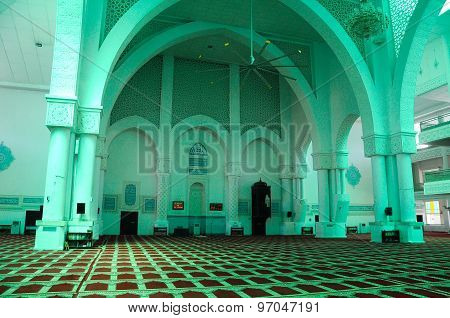 Interior of Sultan Haji Ahmad Shah Mosque a.k.a UIA Mosque in Gombak, Malaysia