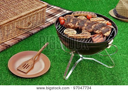 Summer Weekend Picnic On The Lawn With Bbq And Grill