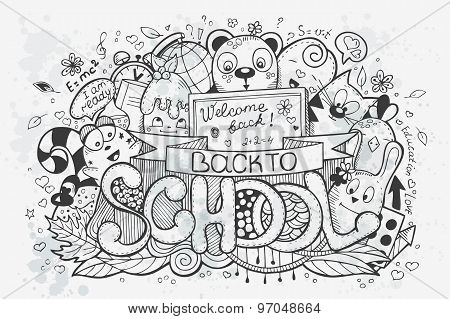 Cartoon Vector Hand Drawn Doodles On A School Theme. Go Back To School. Black Contour