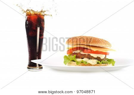 Hamburger With Cutlet And Drink