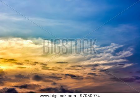 Colorful Sky. Blue, Orange And Yellow Colors Sunset Sky.