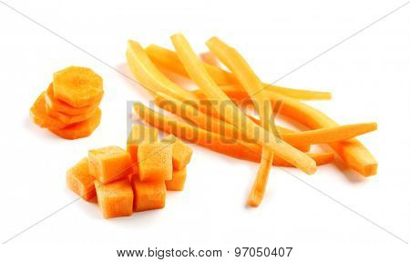 Sliced and diced carrot isolated on white