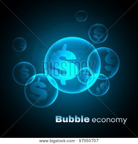 Dollar sign in Blue sky bubble economic vector background