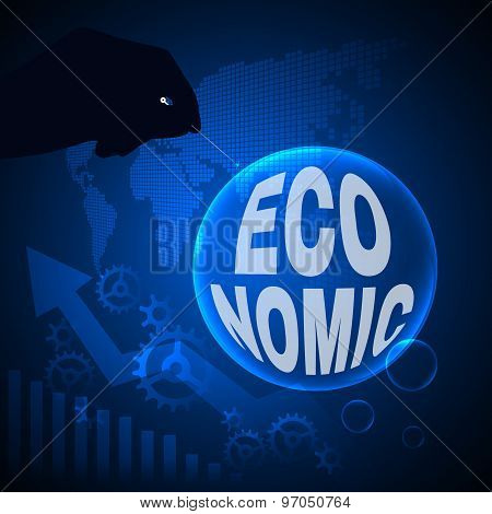 Bubble Economic text and Handle needles on gear map and arrow background
