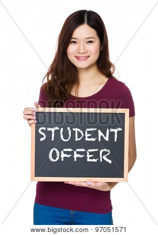Asian Young woman hold with chalkboard and showing student offer