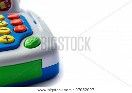 Part of toy cash register.On a white background, Isolated on white.