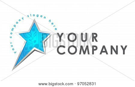 Logo template, vector, shining star, music, pop star logo, music production, music chart