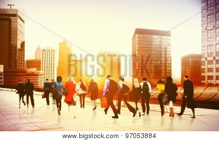 Commuter Business District Walking Corporate Cityscape Concept