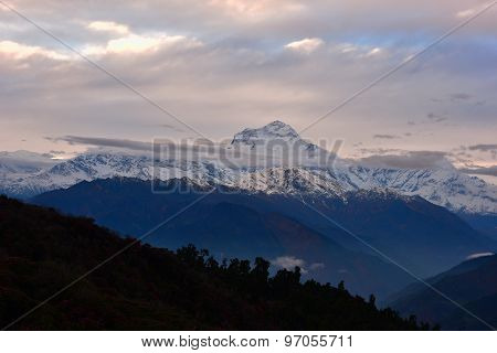 View Of Cloud And Blue Sky In Annapurna Mountain Range , Nepal