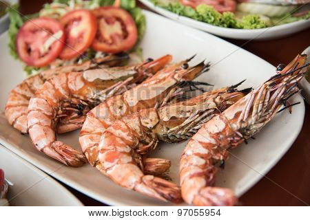 Closed Up The Grilled Prawn In Restaurant