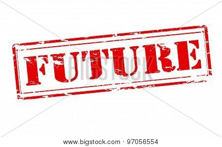 Rubber stamp with word future inside vector illustration